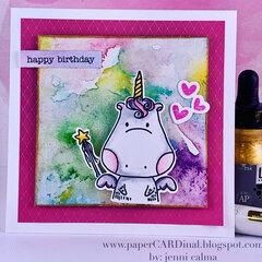 happy birthday - Unicorn W/ Magic Wand Card