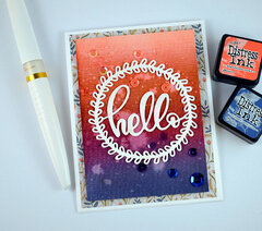 hello Card - Blended Distress Ink