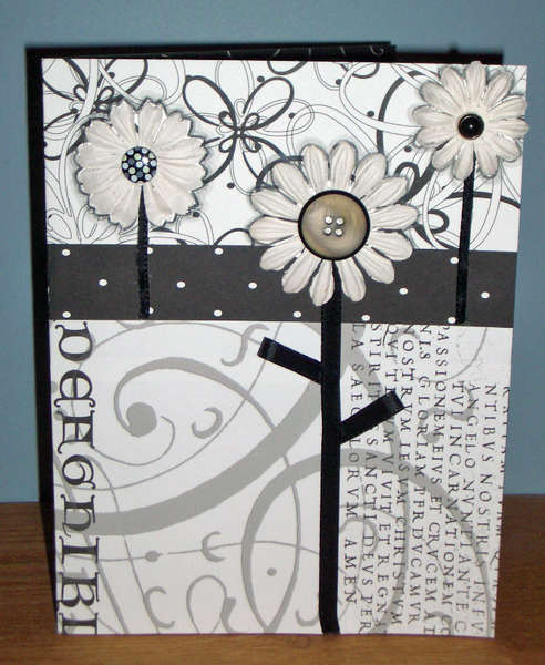 Black and White Flowers and Scrolls