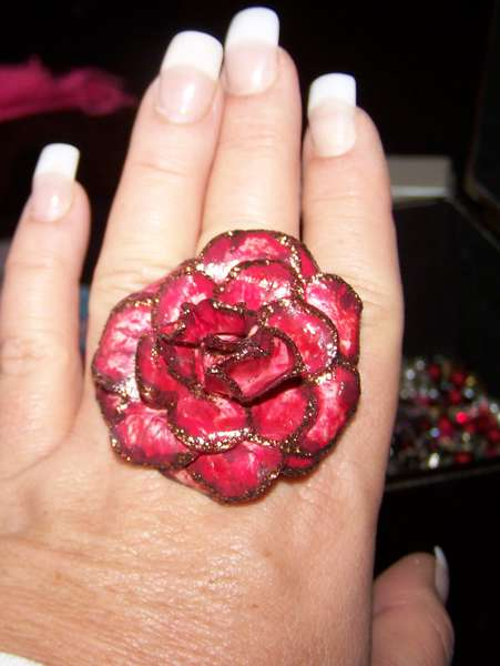 Paper Rose Ring-Red
