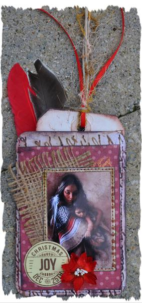 """Mother and Child Native Christmas Tag"" Scrap of Darkness"