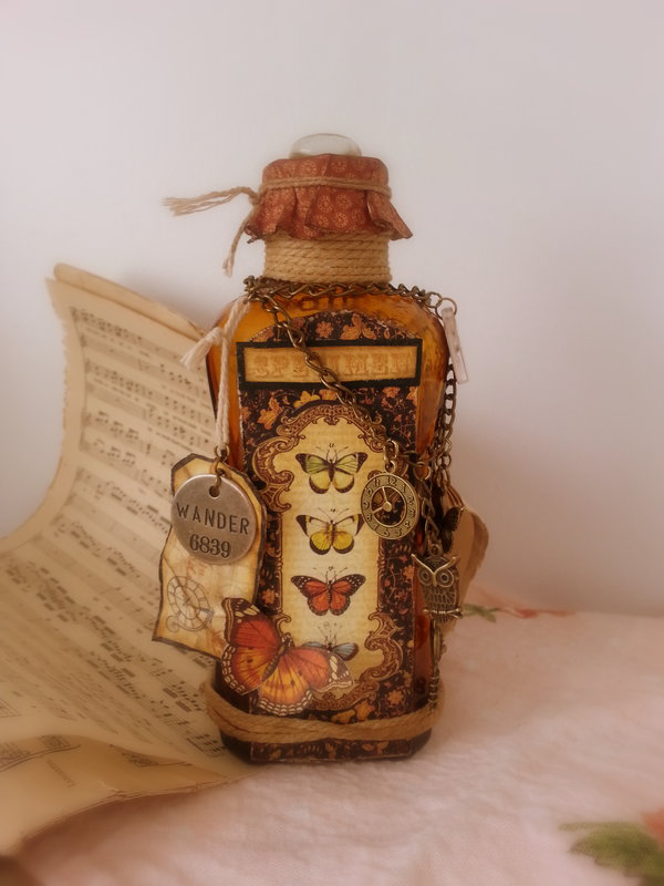 Altered Glass Bottle #2 ~ Graphic 45 ~ Olde Curiosity Shoppe