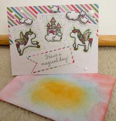 Unicorn Birthday card and envelope