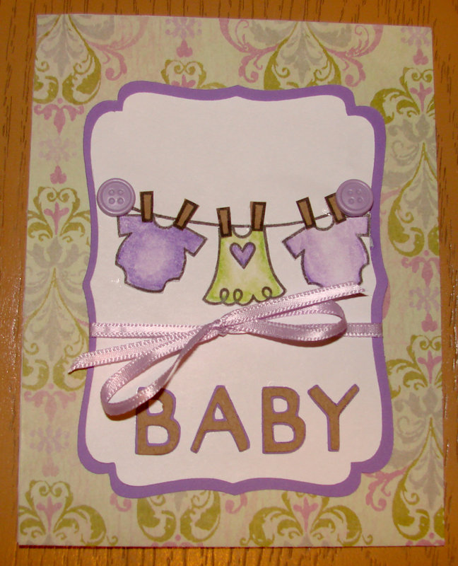 Purple and Green Baby Card for Friend