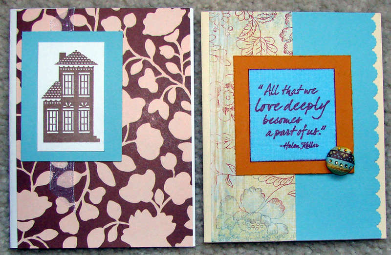 Brown and Blue cards for Operation Write Home