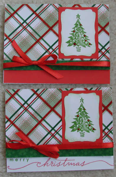 Plaid Christmas cards with tree