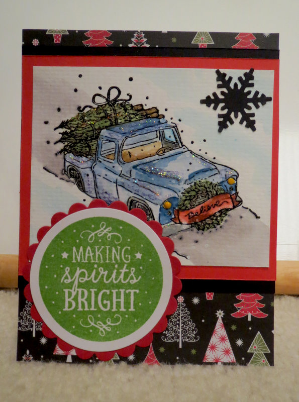 Blue Truck Christmas Card