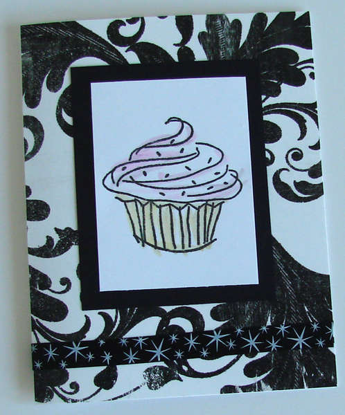 Cup Cake card with black and white