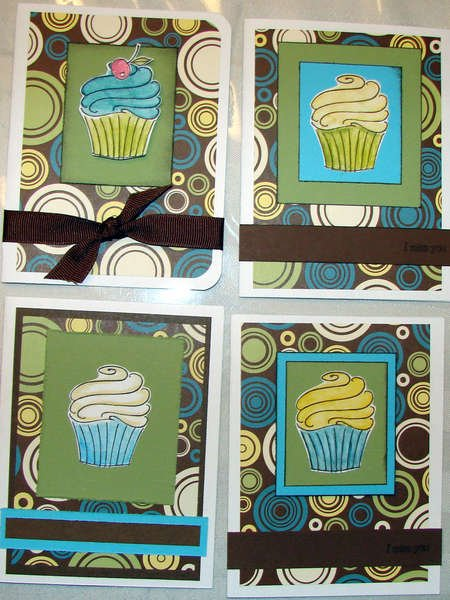 Cup Cake green and teal cards