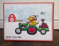 Farm Tractor Christmas card 1
