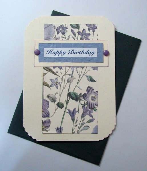Happy Birthday Card in Purple, ecru and green
