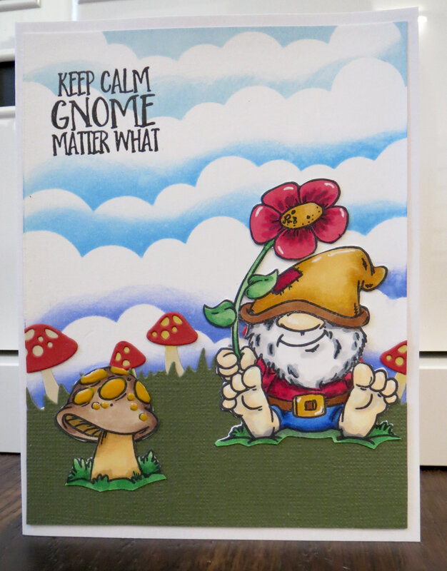 Gnome with flower and mushrooms Card