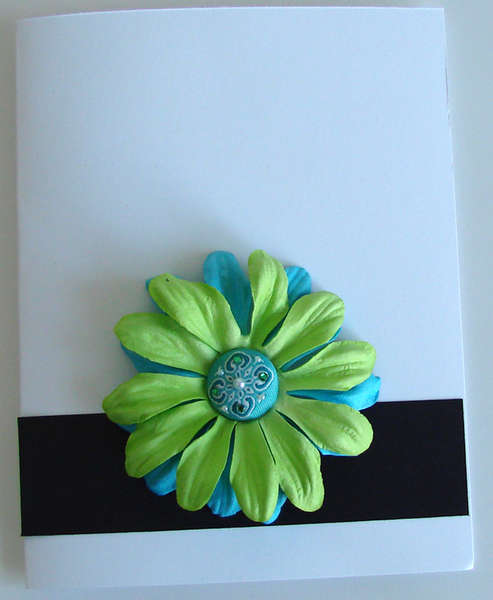 White Card with Black stripe and flower