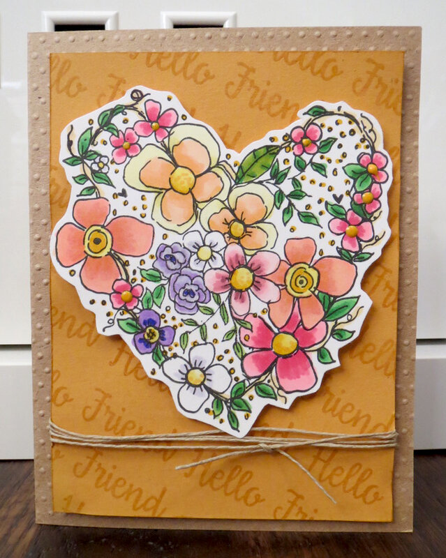 Flower Heart Card for friend