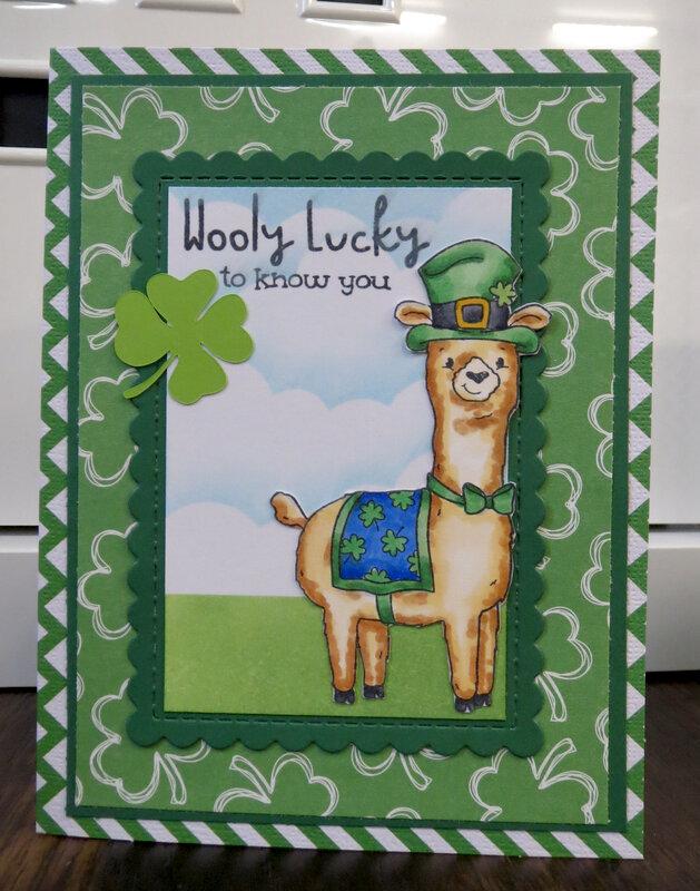 Llama St. Patrick's Day card 3