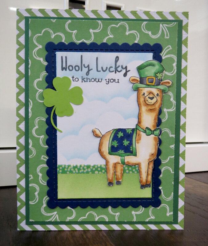 Llama St. Patrick's Day card 2