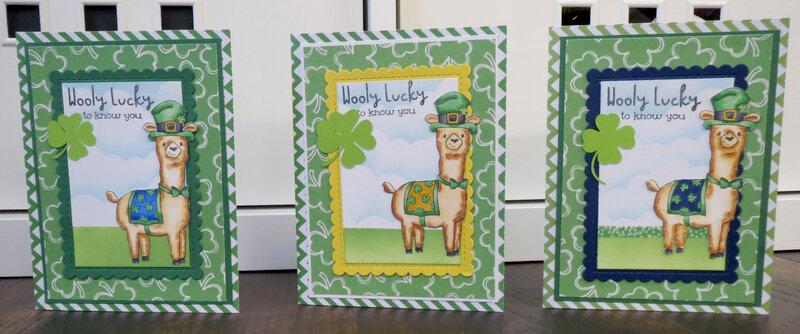 All 3 Llama St. Patrick Cards