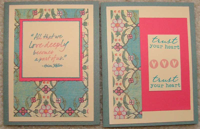 Pink and green Love themed cards