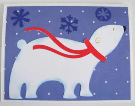 Polar Bear Card with Snowflakes 1