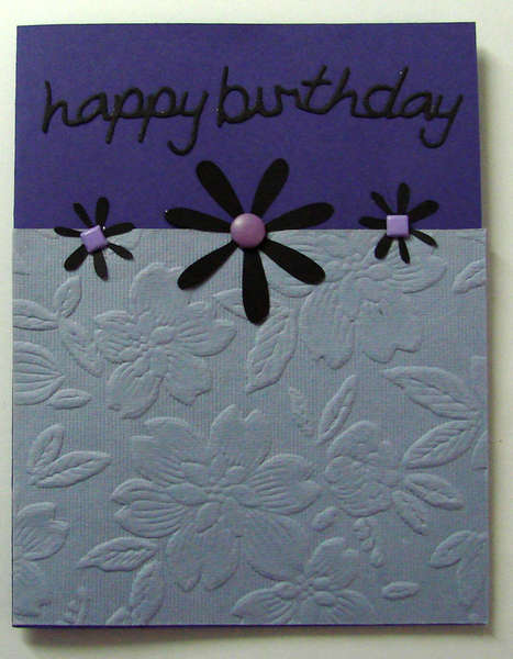Purple flower Happy Birthday Card