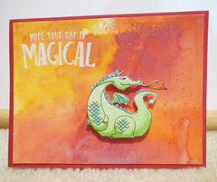 Dragon with Distress Ink background card