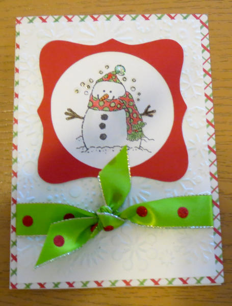 Snowman card with bow 1