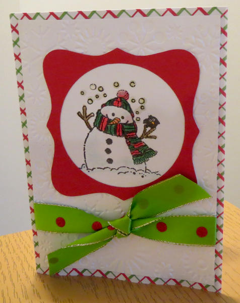 Snowman card with bow 2