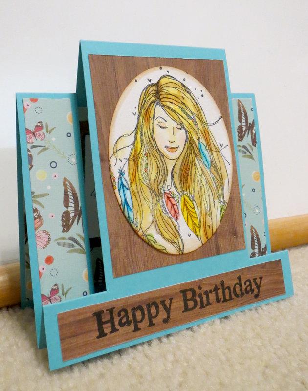 Birthday card in blue - Side