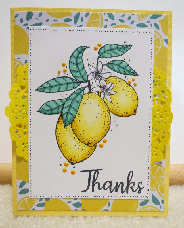 Lemon Thank You Card - Yellow