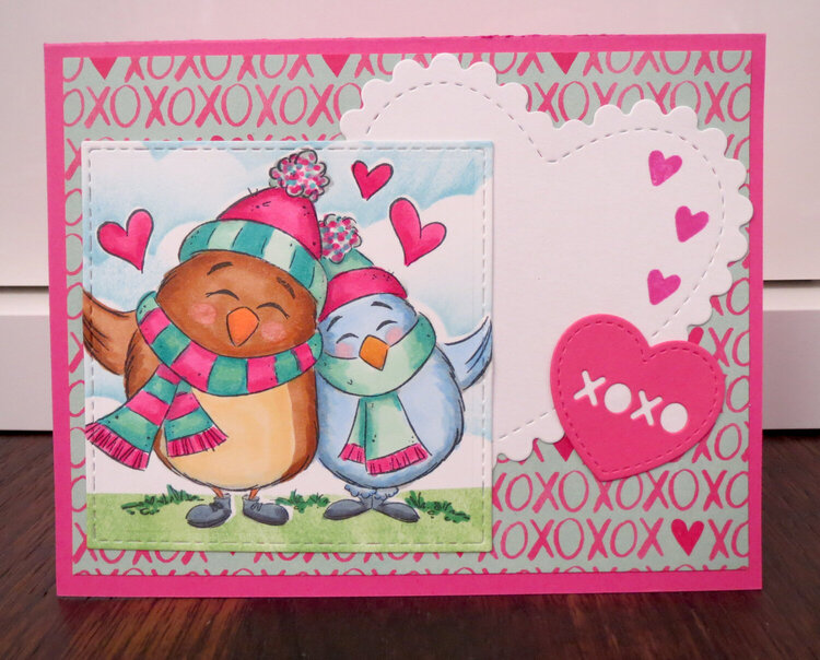 Heart Birdy Card in Pink for In-Laws