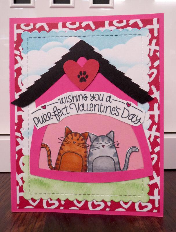 Cat Valentine Card in House