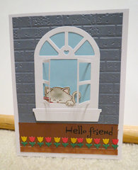 Grey window card with cat