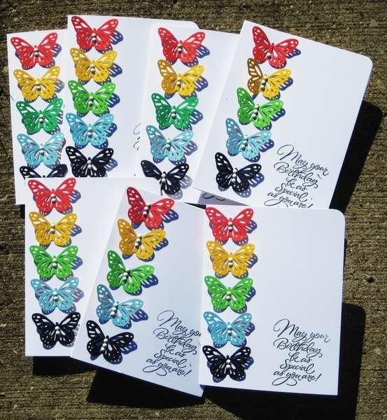 Rainbow butterfly birthday cards