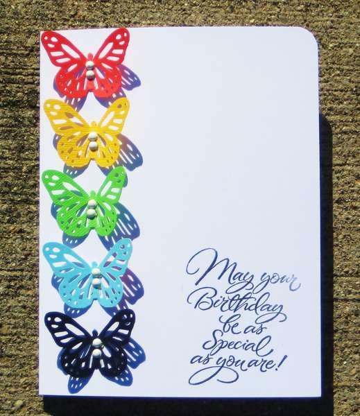 Rainbow butterfly birthday card