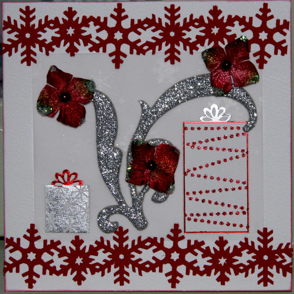 Red snowflake Christmas card