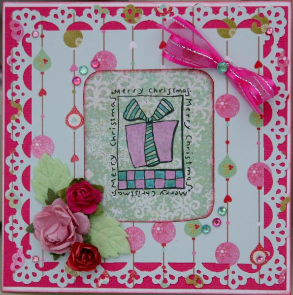 Christmas pink card