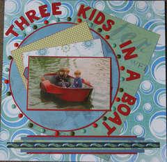 Three kids in a boat