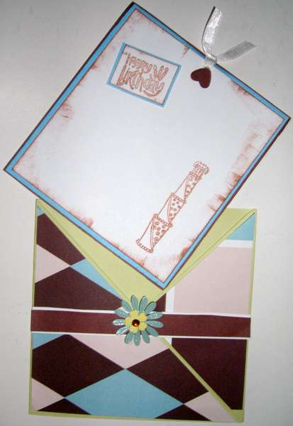 teal and brown birthday envelope and tag