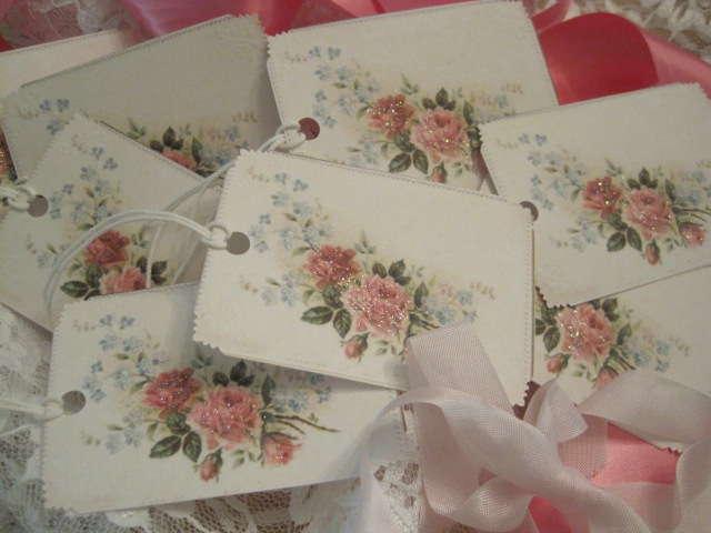 Shabby Roses Glitter Gift Tags Set