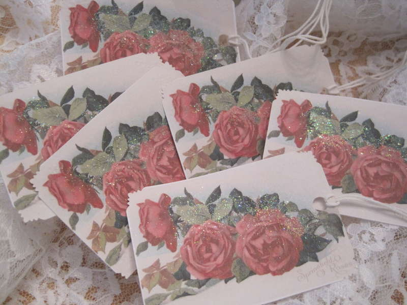 Shabby Red Roses Glitter Gift Tags