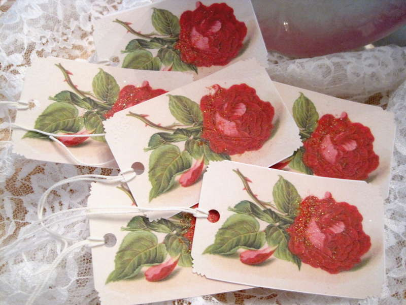 Shabby Floral Red Rose Glitter Gift Tags