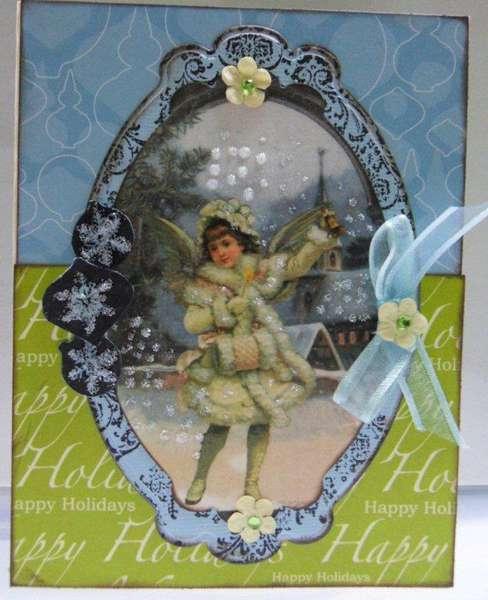 Blue Vintage Xmas Card