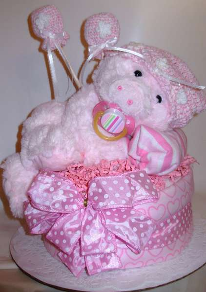 Pretty in Pink piggy Diaper cake