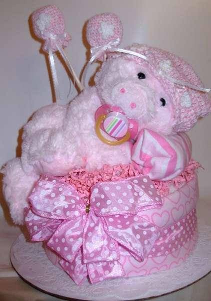 Pretty in Pink piggy Diaper cake