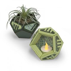 Geometric Holder With Air Plants & Votives