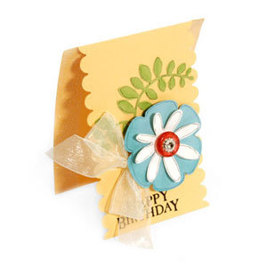 Happy Birthday Flowers and Vine Scallop Card