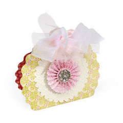 Flower Embellished Scallop Circle Bag by Beth Reames