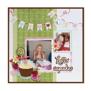Hello Cupcake Scrapbook Page by Debi Adams