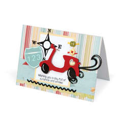 Sunshine & Smiles Moped Card by Debi Adams