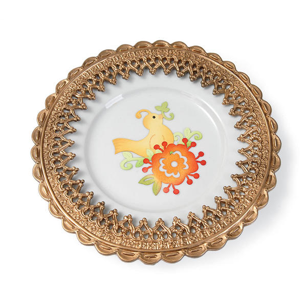 Bird & Flower Vine Plate by Debi Adams